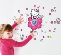 Hello Kitty : Hello Kitty Wallstickers med Ur - Hello Kitty Børneværelse 651001