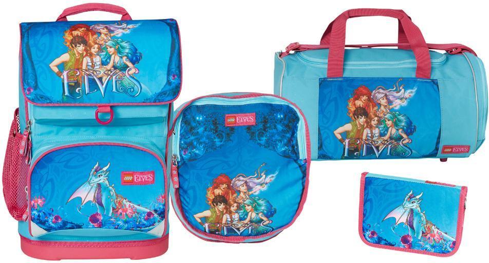 Image of Elves Aqua blå skoletaskesæt 4 dele - Lego skoletaske 451712 (142-451712)