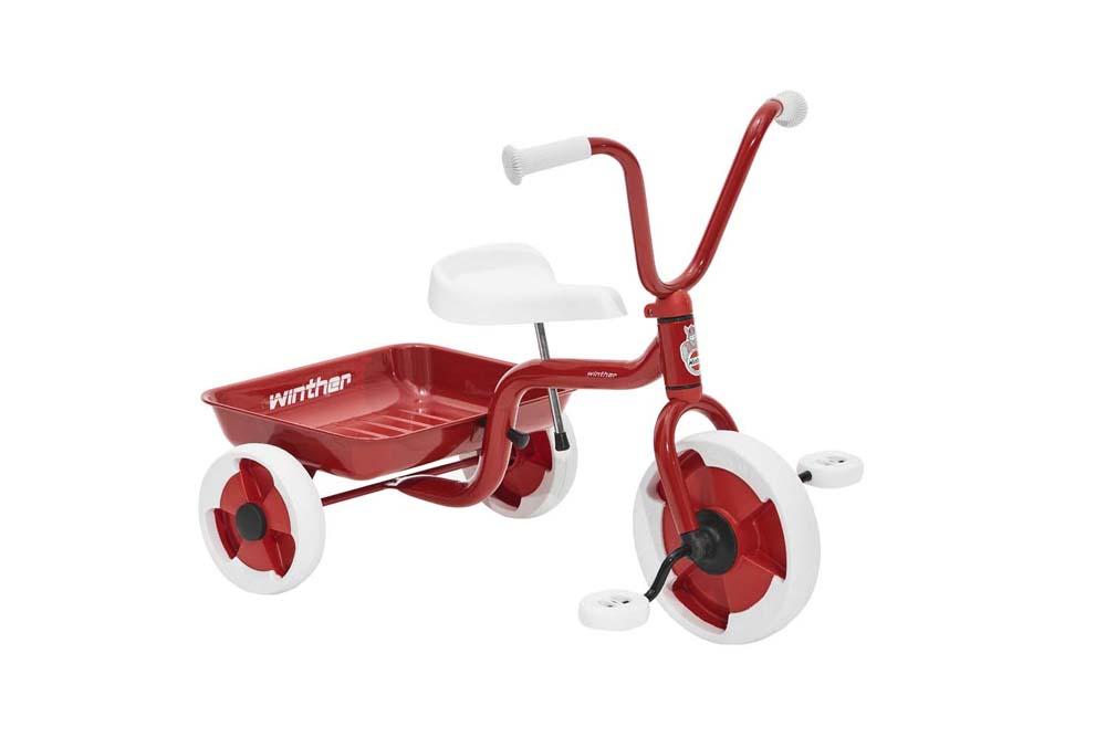 Trehjulet cykel m. vippelad rød/hvid - Trehjulet cykel m. vippelad rød/hvid