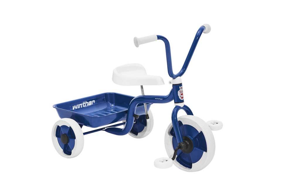Trehjulet cykel m. vippelad blå/hvid - Trehjulet cykel m. vippelad blå/hvid