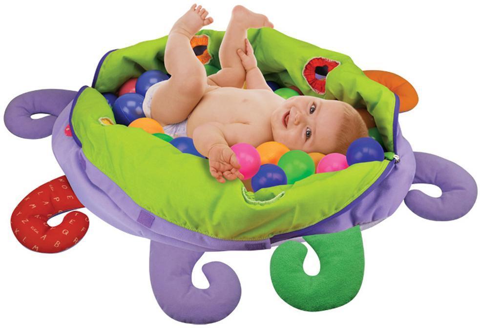 k s kids Blæksprutte m legebolde 60 stk - plys babylegetøj 106830 fra eurotoys