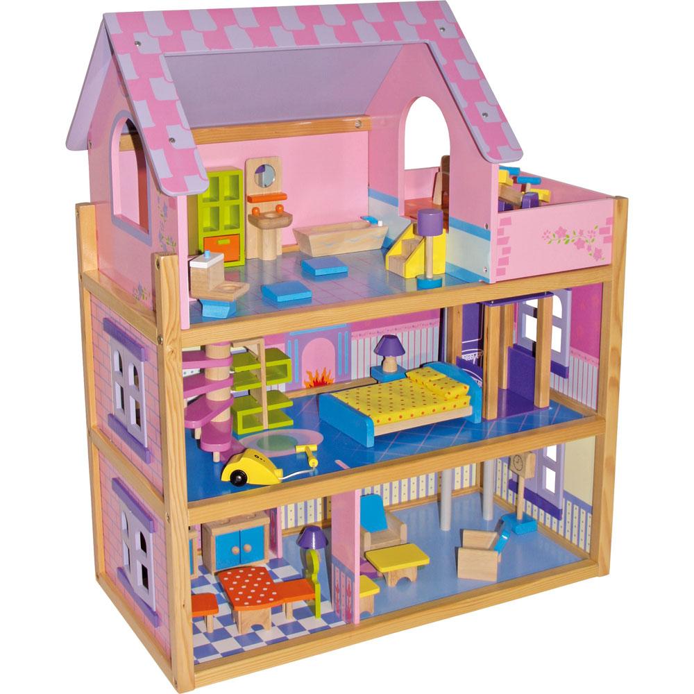 Trædukkehus Pink med Møbler - Trædukkehus Pink med Møbler