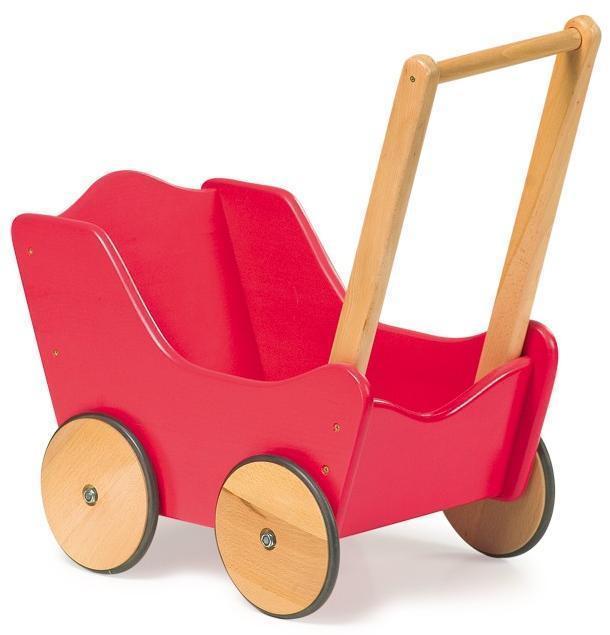 Klassisk Rød Træ Dukkevogn - Klassisk Rød Træ Dukkevogn