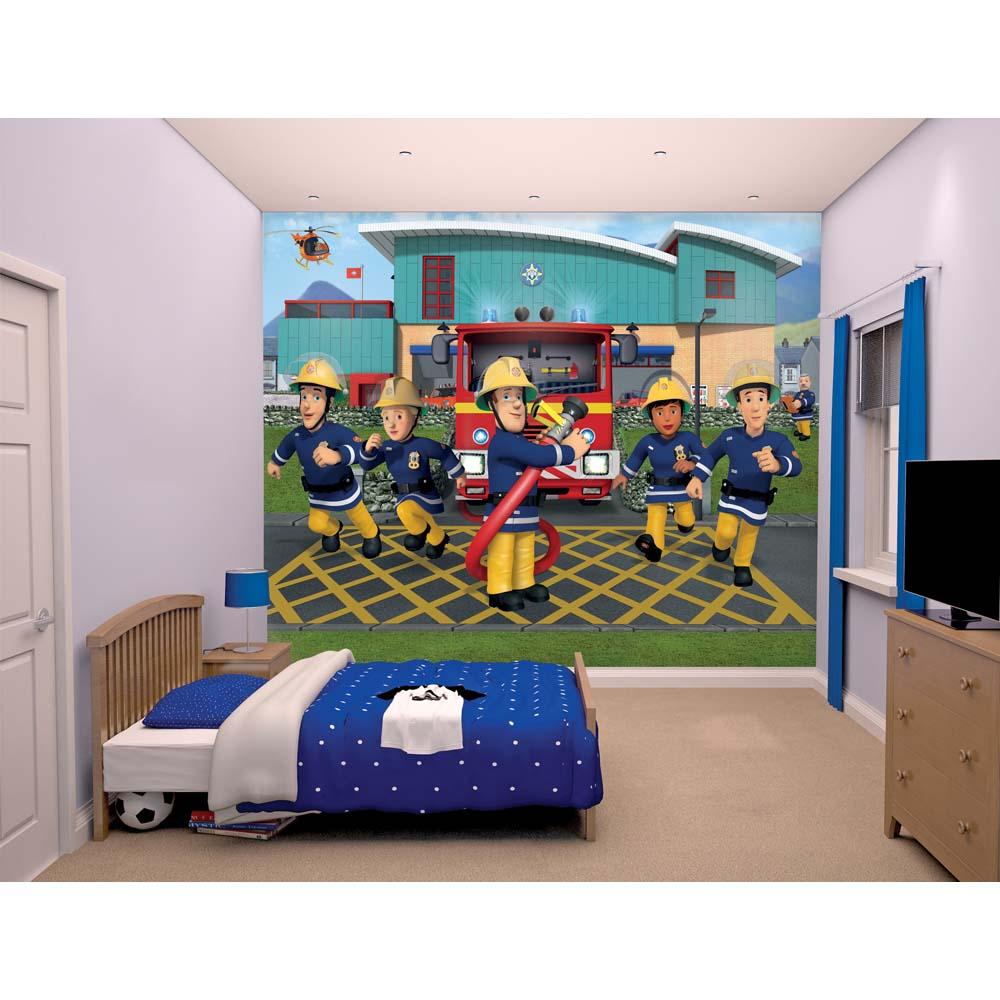 Image of Brandmand Sam tapet - Walltastic Fireman Sam 3D børnetapet 437 (241-043770)