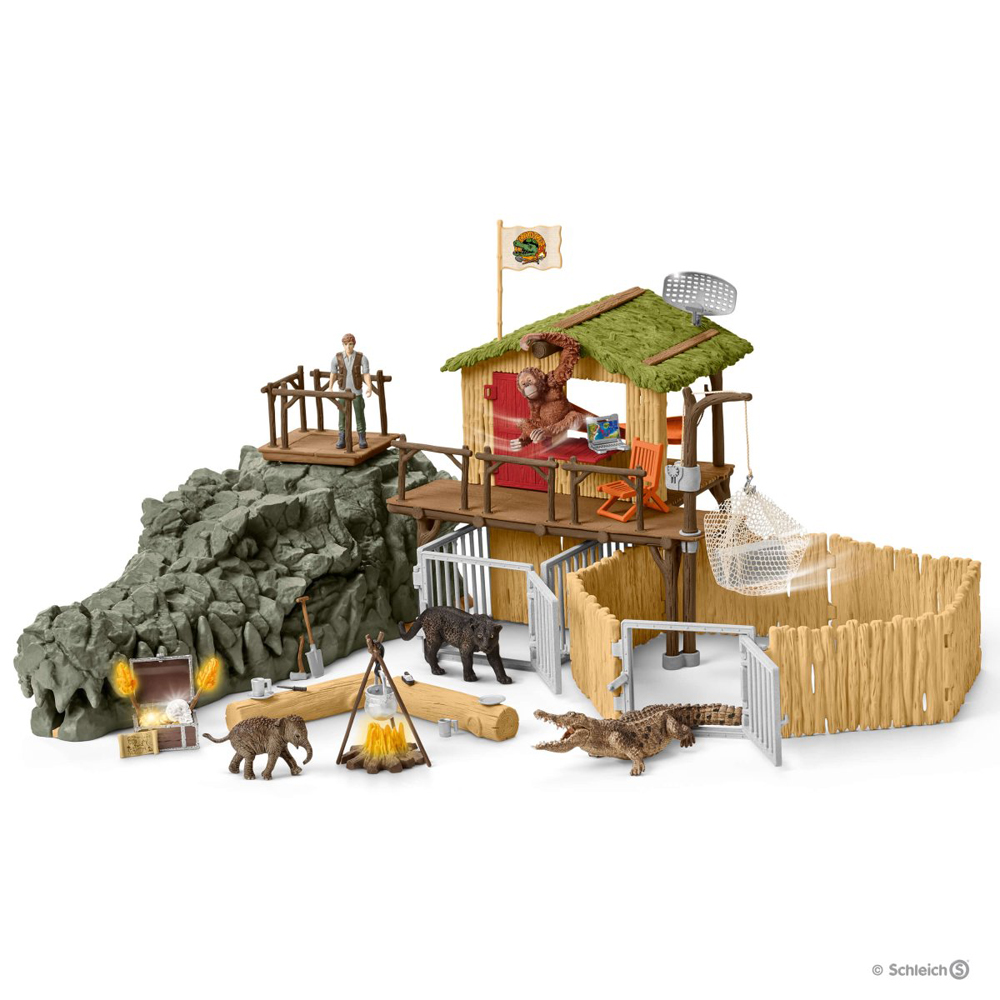 schleich – Jungle forskningsstation krokodille - schleich 42350 på eurotoys