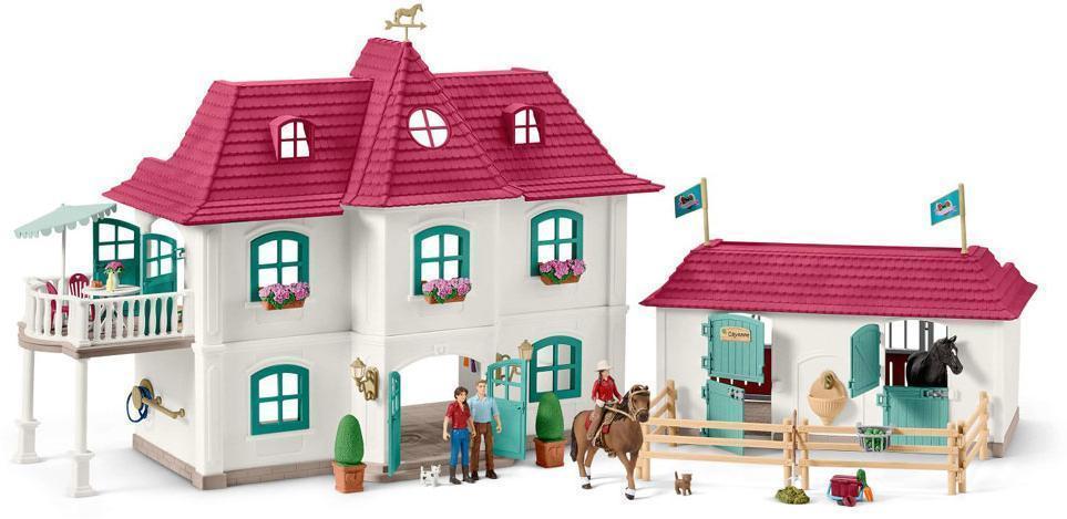 Stor hestegård med hus og stald - Schleich bondegård 42416