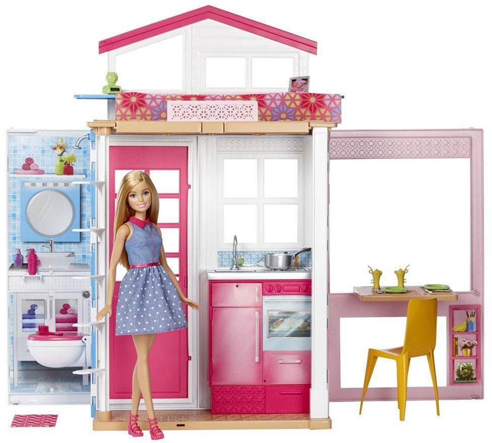 Image of Barbie to etagehus med møbler og dukke - Barbie dukkehuse DVV48 (29-0DVV48)