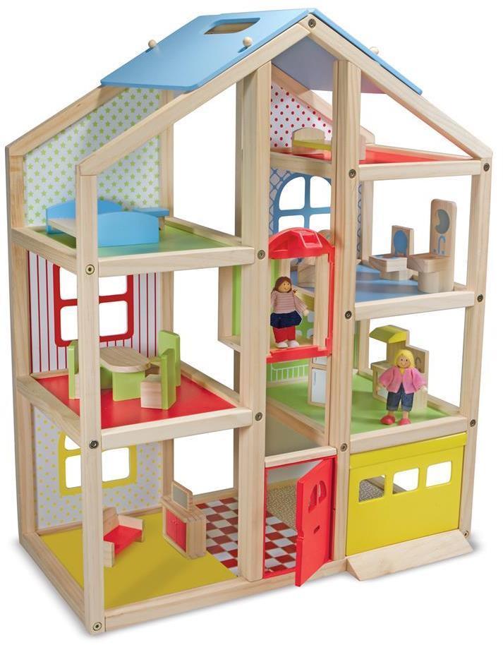 Stort Hi-Rise trædukkehus med møbler - Stort Hi-Rise trædukkehus med møbler