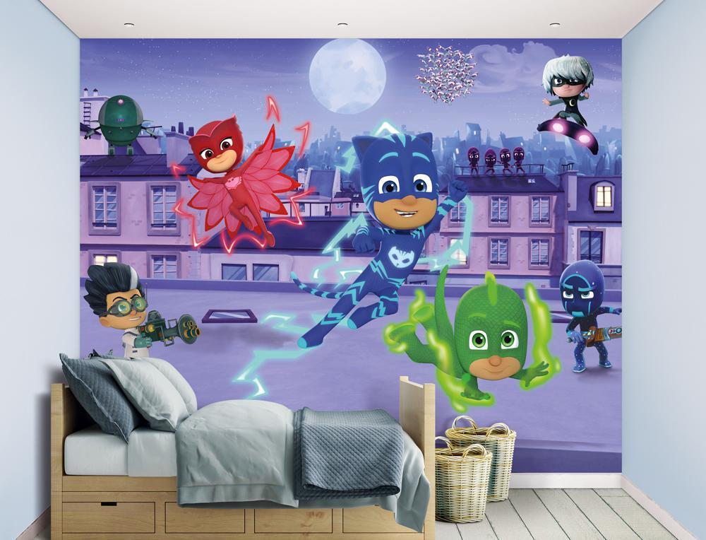 Image of Pyjamasheltene tapet - Walltastic PJ Mask 3D børnetapet 45194 (455-045194)
