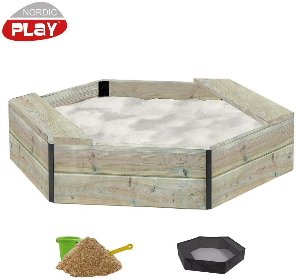 Image of 6-kantet sandkasse i træ inkl. net og sa - Nordic Play sandkasser 805732 (460-805732)