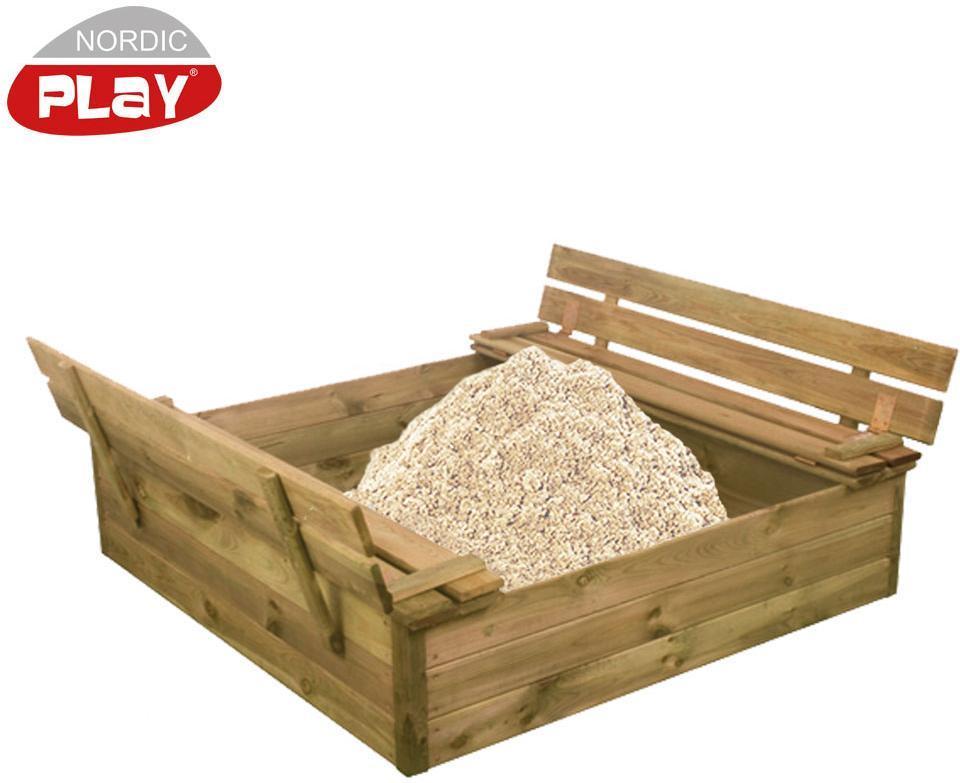 Sandkasse m/ bænk & låg, inkl. sand - Sandkasse m/ bænk & låg, inkl. sand