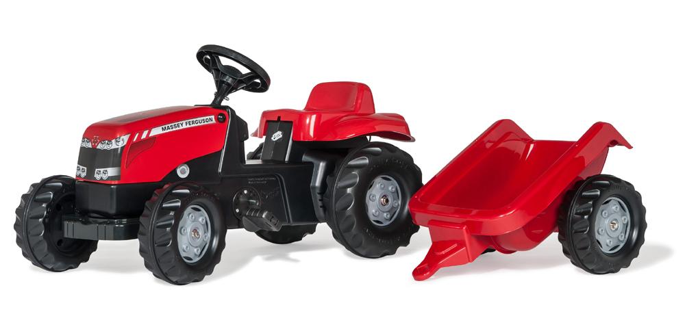 Image of Rød Massey Ferguson traktor med trailer, Rolly Toys - Rolly toys RollyKid MF 12305 (52-012305)